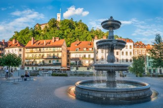 Panorama of Ljubljana, Fountain and Castle, Slovenia, Europe.Cityscape of the Slovenian capital Ljubljana.